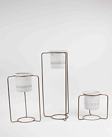 Kalalou White Wash Pots w/Copper Finish Metal Stands, Set of 3