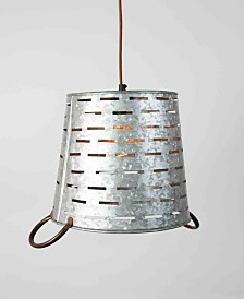Kalalou Perforated Metal Bucket Pendant Light