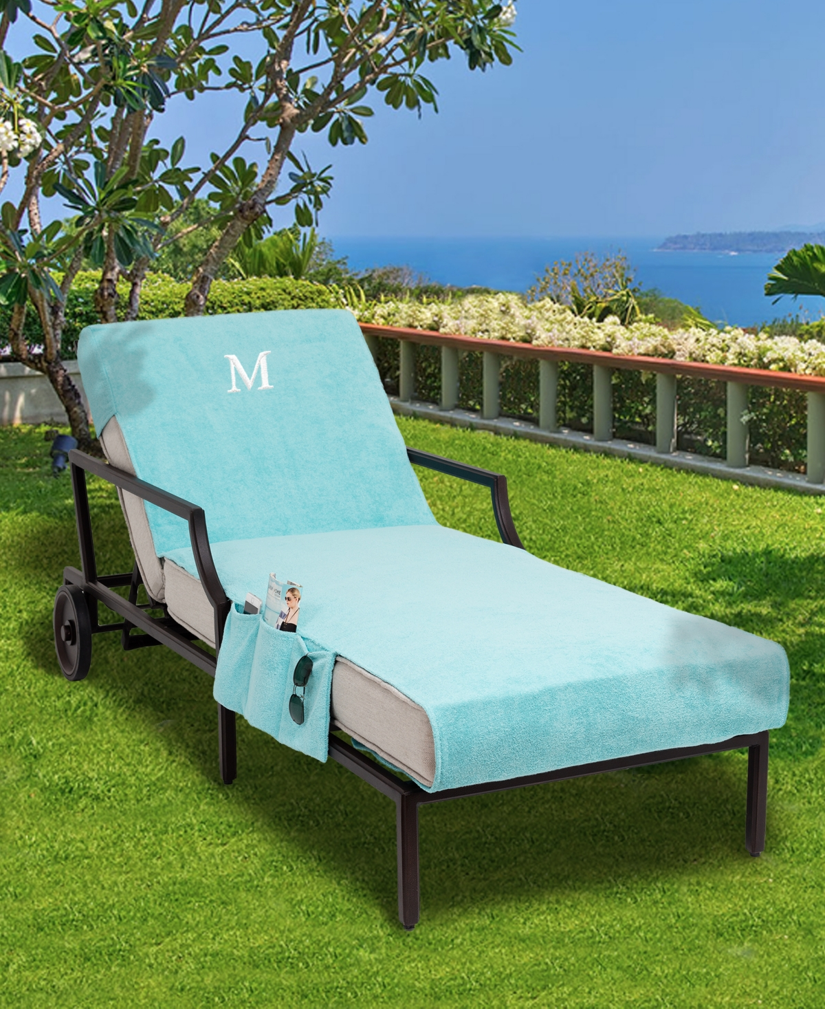 Linum Home Personalized Standard Size 100% Turkish Cotton Chaise Lounge Cover with Side Pockets Bedding