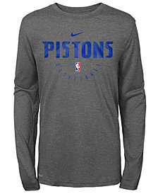 Nike Detroit Pistons Long Sleeve Practice T-Shirt, Big Boys (8-20)