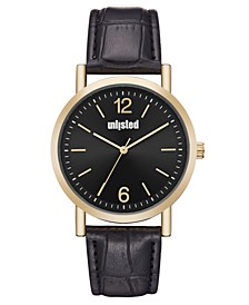Men's Black Synthetic Leather Sport Watch, 36MM
