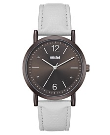 Unlisted Men's White Synthetic Leather Sport Watch, 36.5MM