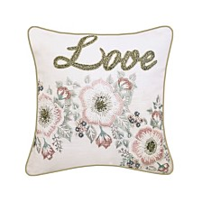 """Edie@Home Celebrations Pillow Beaded """"Love"""" On Floral Print with Embroidery"""