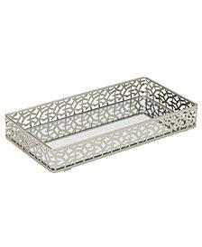 Home Details Leaf Design Rectangular Mirror Vanity Tray