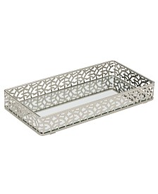 Home Details Leaf Design Rectangular Mirror Vanity Tray
