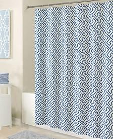 Bath Bliss Shower Curtain in Blue Key Design