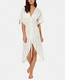 O'Neill Juniors' Edie Cotton Textured-Stripes Kimono Cover-Up