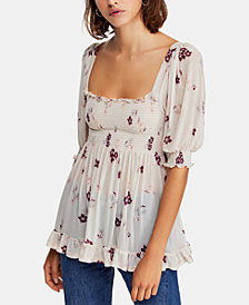 Free People Delta Dawn Smocked Top