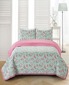 Olivia Crochet Trimmed Floral 3 Piece Quilt Set