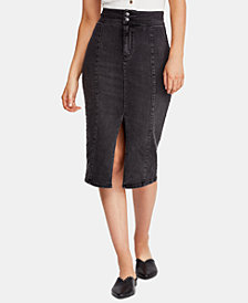 Free People Maddie Denim Midi Skirt