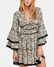 Free People Printed Tiered-Sleeve Peasant Dress