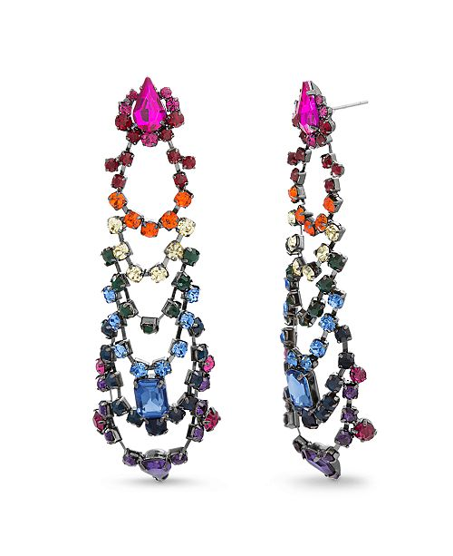 Steve Madden Rainbow Square and Teardrop Post Earring