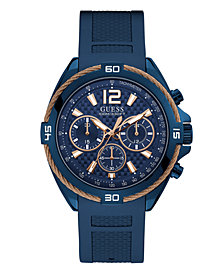 GUESS Men's Chronograph Blue Silicone Bracelet Watch 47mm