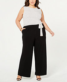 Tommy Hilfiger Plus Size Dot-Print Wide-Leg Jumpsuit, Created for Macy's