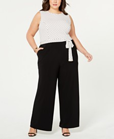 5b4f771da31e Tommy Hilfiger Plus Size Dot-Print Wide-Leg Jumpsuit