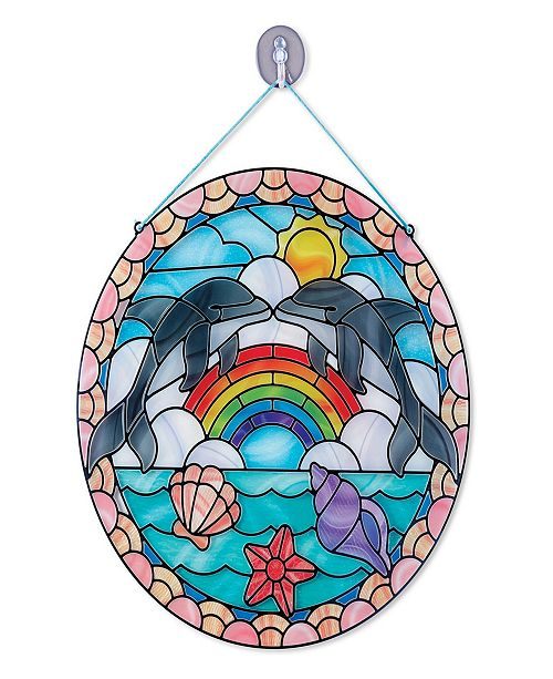 Melissa and Doug Melissa & Doug Stained Glass Made Easy Craft Kit: Dolphins - 180+ Stickers