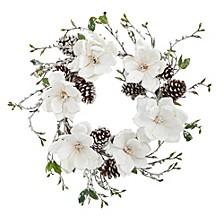 """24"""" Snowed Magnolia & Pine Cone Wreath"""