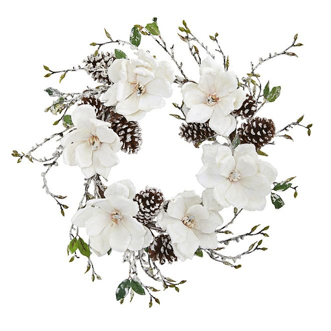 "Nearly Natural 24"" Snowed Magnolia & Pine Cone Wreath"