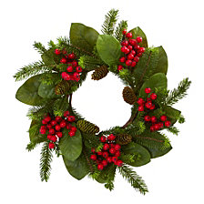 "Nearly Natural 19"" Magnolia Leaf, Berry & Pine Artificial Wreath"