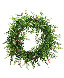 """18"""" Floral and Fern Double Ring Wreath w/ Twig Base"""