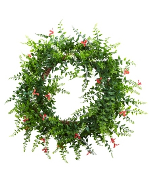 """Nearly Natural 18"""" Floral and Fern Double Ring Wreath w/ Twig Base"""