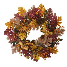 "Nearly Natural 24"" Oak Leaf, Acorn and Pine Wreath"
