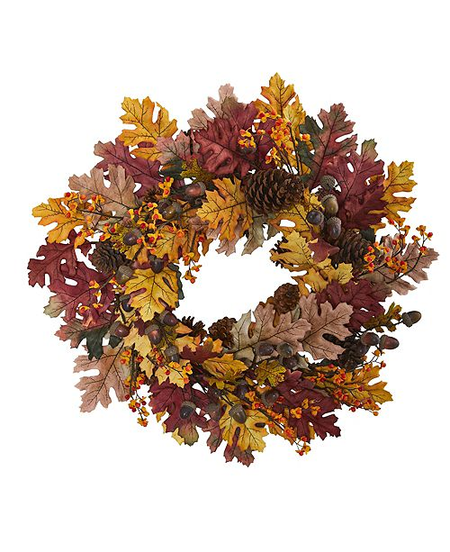"Nearly Natural 24"" Oak Leaf, Acorn and Pine Wreath"