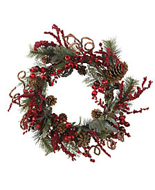 "Nearly Natural 24"" Assorted Berry Wreath"
