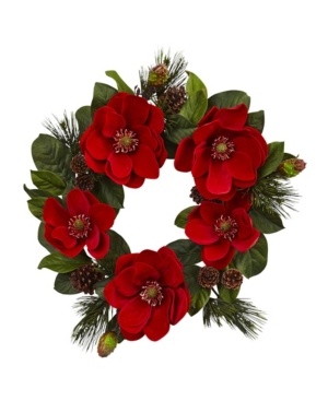 """Nearly Natural 24"""" Red Magnolia and Pine Wreath"""