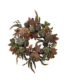 """24"""" Pumpkin and Gourd Wreath"""