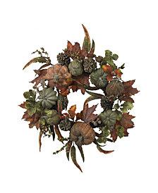 "Nearly Natural 24"" Pumpkin and Gourd Wreath"