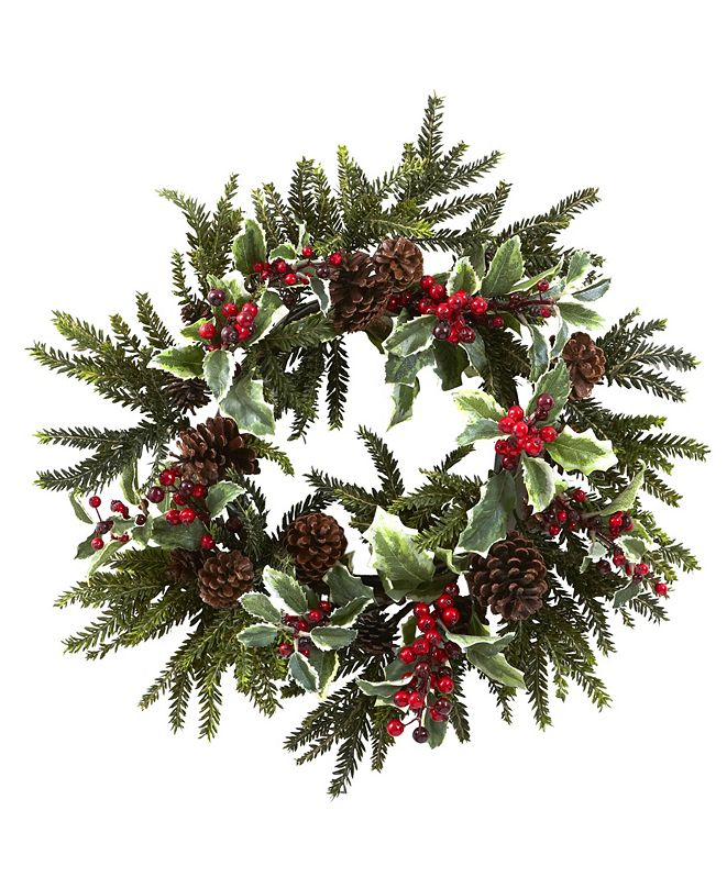 "Nearly Natural 22"" Holly Berry Wreath"