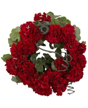 "Nearly Natural 17"" Geranium Wreath"
