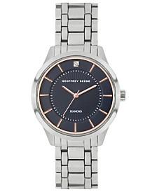 Geoffrey Beene Navy Dial Genuine Diamond Dial Slim Bracelet Watch