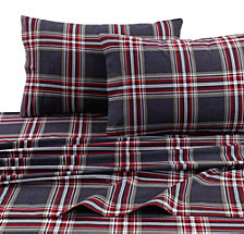Tribeca Living Heritage Plaid 5-ounce Flannel Printed Extra Deep Pocket Full Sheet Set
