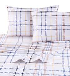 Tribeca Living Modern Plaid Luxury Extra Deep Pocket Flannel Twin Sheet Set