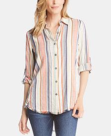 Karen Kane Striped Fringe-Hem Button-Up Shirt