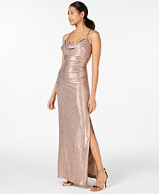 Petite Cowl-Neck Metallic Gown