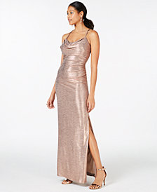 Nightway Cowl-Neck Gold-Foil Gown