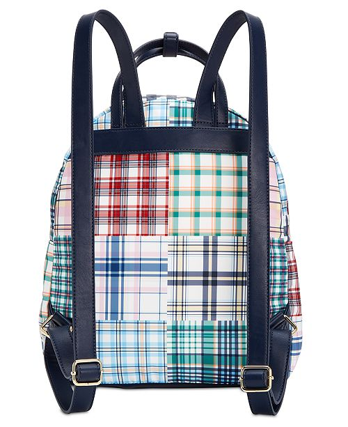Tommy Hilfiger Double Handle Plaid Patchwork Julia Backpack ... 596aa27ea49e2