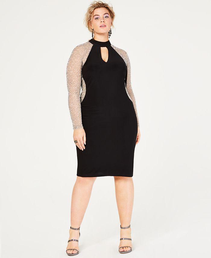 XSCAPE - Plus Size Caviar-Beaded Illusion Dress