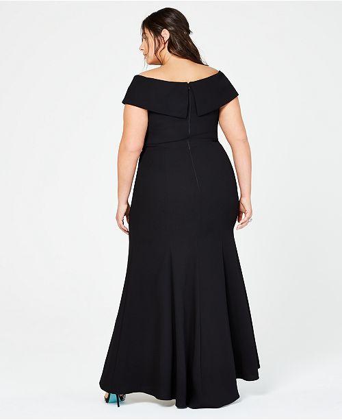 858bcd2b XSCAPE Plus Size Off-The-Shoulder Slit Gown & Reviews - Dresses ...