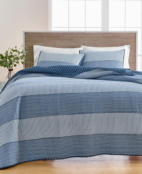 Martha Stewart Collection Nautical Stripe Twin Quilt, Created for Macy's