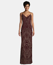 Betsy & Adam Petite Glitter-Embellished Gown
