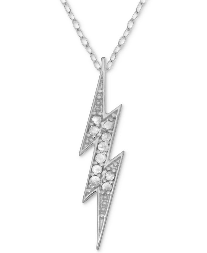 Macy's - Diamond Lightening Bolt Pendant Necklace (1/10 ct. t.w.) in Sterling Silver