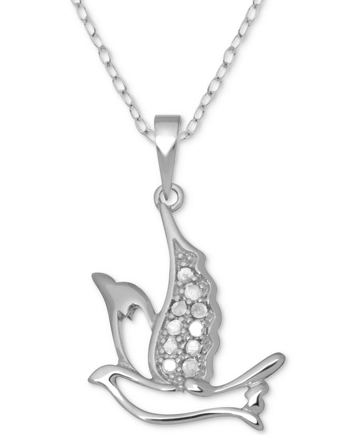 "Macy's - Diamond Dove 18"" Pendant Necklace (1/10 ct. t.w.) in Sterling Silver"