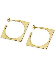 Square Medium Hoop Earrings  in Gold-Plate