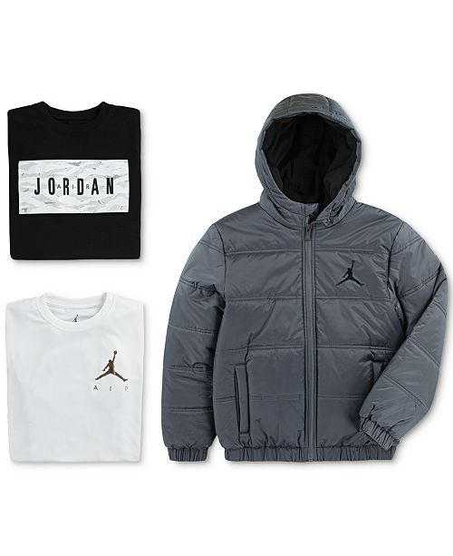 92db8fb0e97066 Jordan Big Boys Heritage Puffer Jacket   Graphic-Print T-Shirt ...