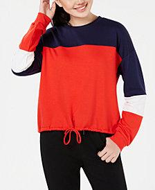 Hippie Rose Juniors' Colorblocked Cropped Sweatshirt