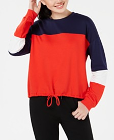 Hippie Rose Juniors' Colorblocked Cropped Sweatshirt